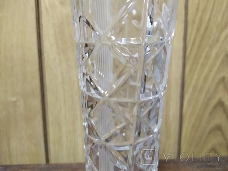Хрустальная ваза с резьбой. Высота 19см, фото №4