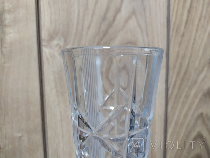 Хрустальная ваза с резьбой. Высота 19см, фото №5