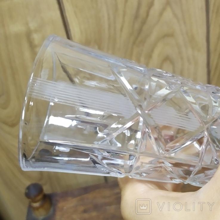 Хрустальная ваза с резьбой. Высота 19см, фото №7