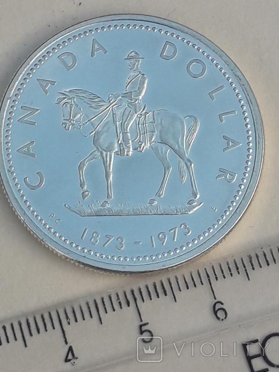 1 доллар, Канада, 1973 г., 100 лет конной полиции Канады, серебро, фото №3