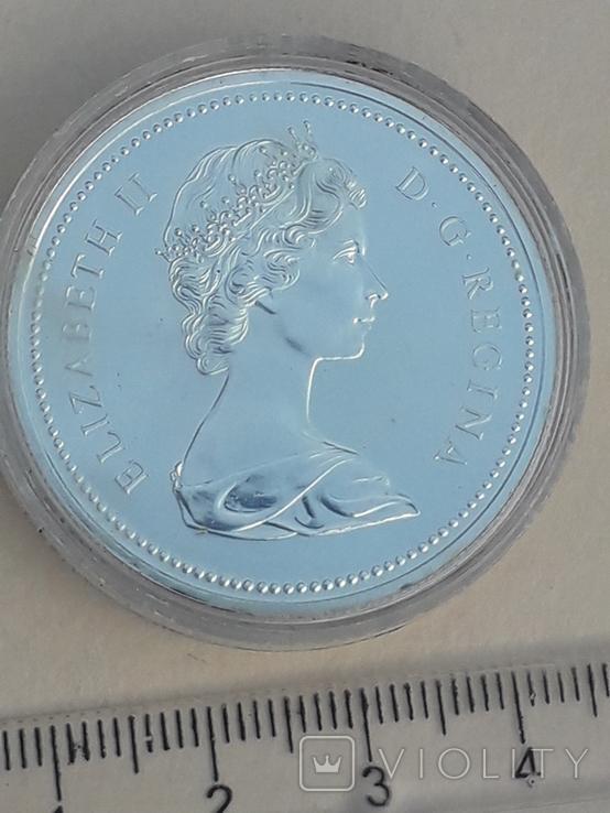 1 доллар, Канада, 1975 год, 100 лет городу Калгари, серебро, фото №2
