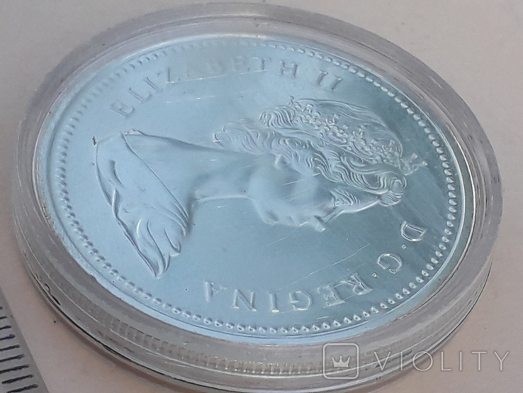 1 доллар, Канада, 1975 год, 100 лет городу Калгари, серебро, фото №3