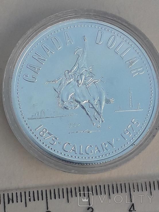 1 доллар, Канада, 1975 год, 100 лет городу Калгари, серебро, фото №4