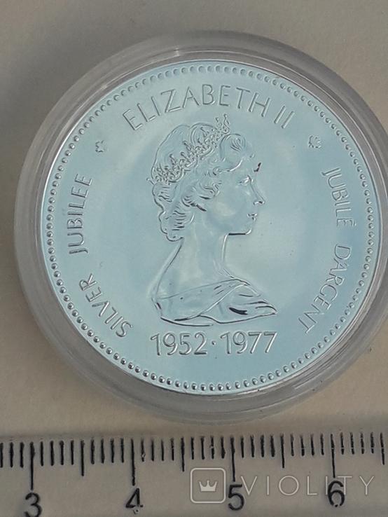 1 доллар, Канада, 1977 г., 25 лет вступлению на престол Елизаветы II, серебро, фото №2