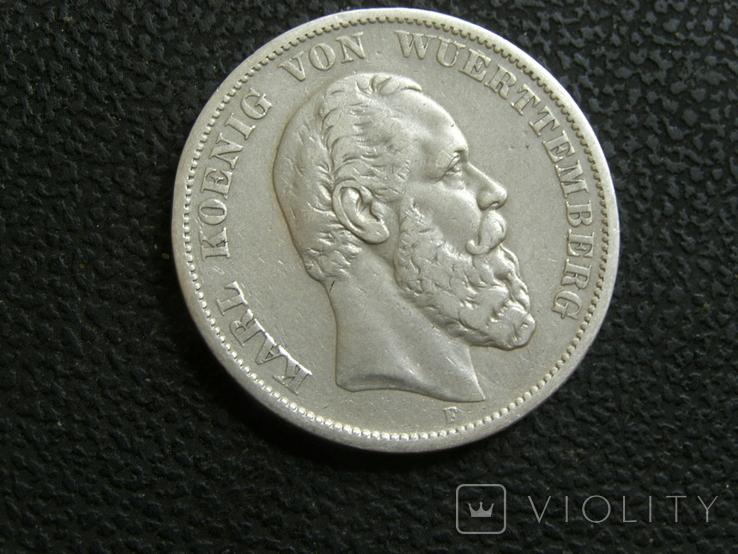 5 марок 1875 г F. Карл, Вюртемберг, фото №2