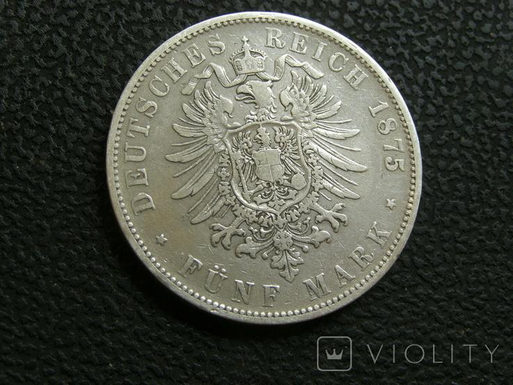 5 марок 1875 г F. Карл, Вюртемберг, фото №4