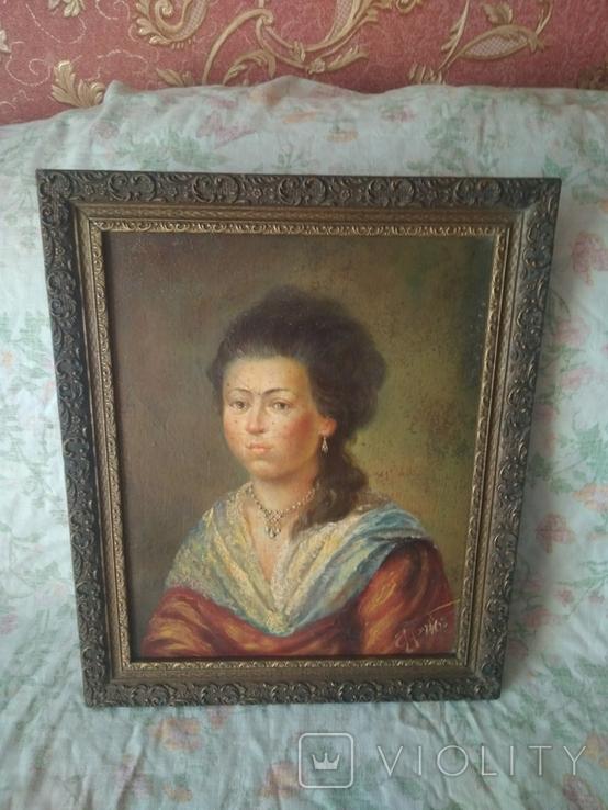 Старинный портрет. Красивой девушки подписная робота 1862год подпись художника есть