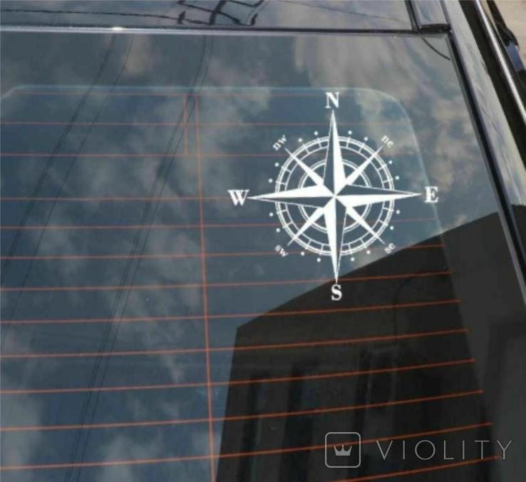 "Наклейка на авто ""Роза ветров"" Белая 15х15 см"