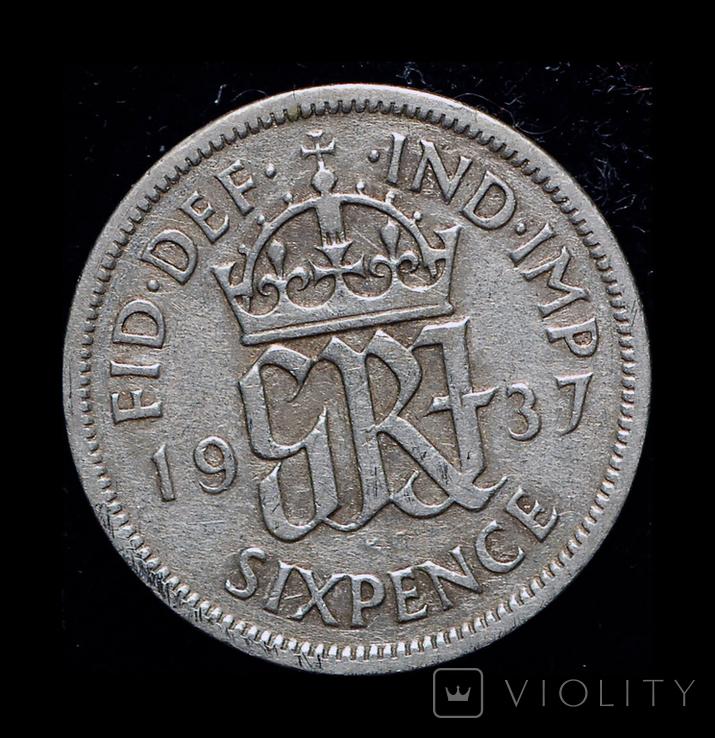 Великобритания 6 пенсов 1937 серебро, фото №2