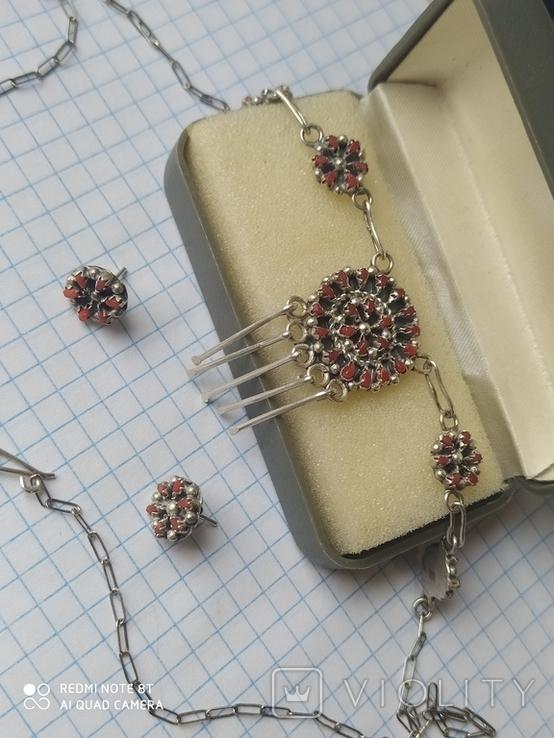 Колье и серьги серебро, фото №2