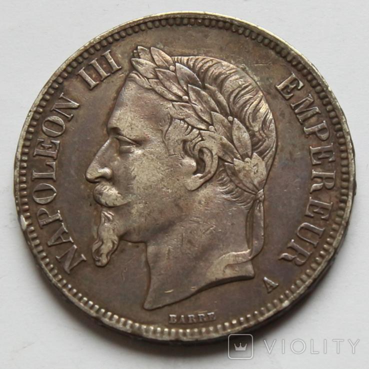 5 франков 1868 Франция. Серебро 24.81г, фото №2