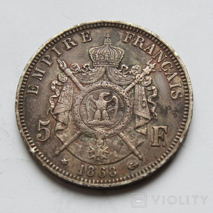5 франков 1868 Франция. Серебро 24.81г, фото №3