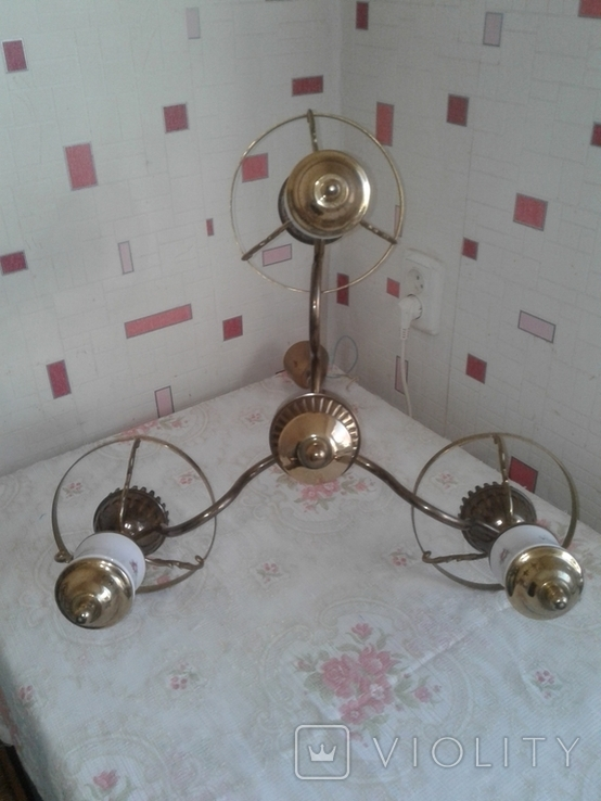 Люстра трехрожковая с фарфоровыми вставками времен СССР., фото №10