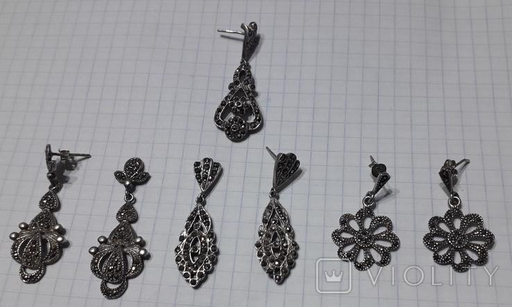 Серьги женские,с камнями, фото №3