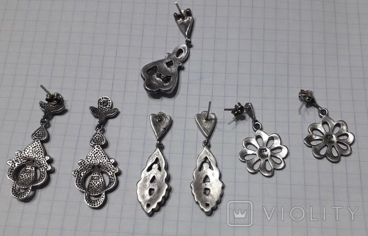 Серьги женские,с камнями, фото №7