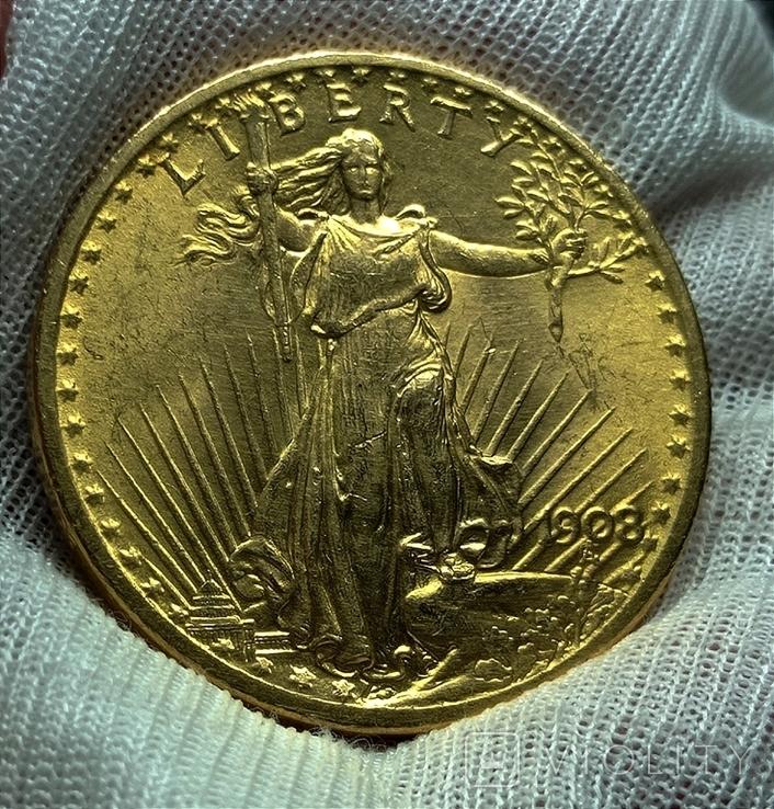 20 долларов 1908, фото №2
