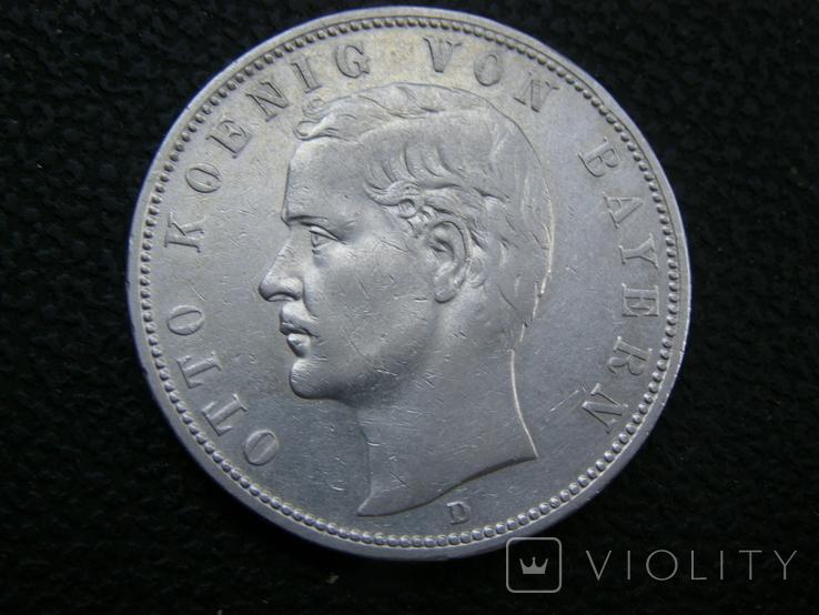 5 марок 1904 D Бавария. Отто., фото №3