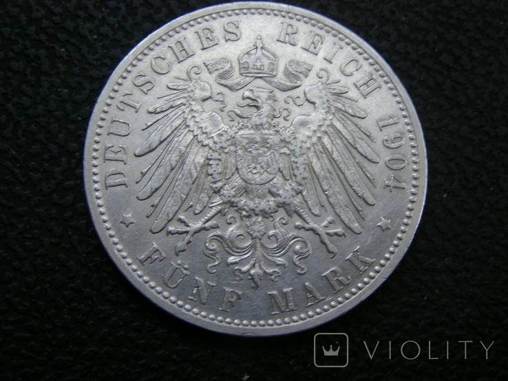 5 марок 1904 D Бавария. Отто., фото №4