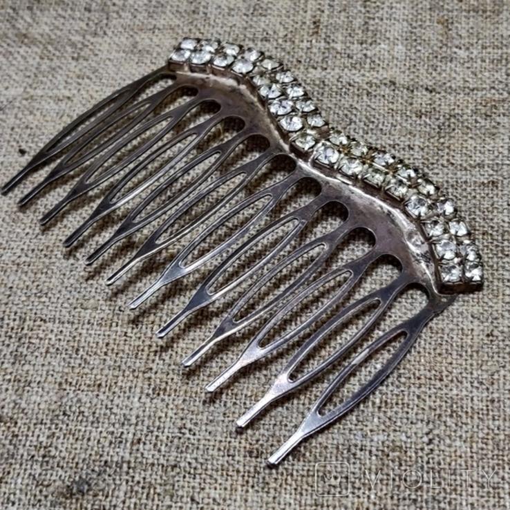 Гребешок для волос заколка посеребрение, фото №2