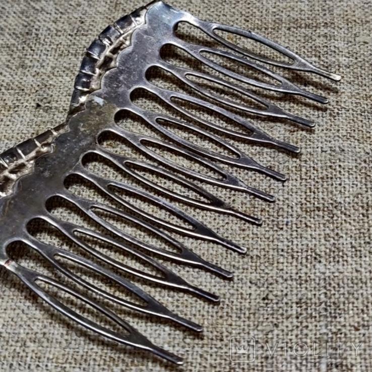 Гребешок для волос заколка посеребрение, фото №4
