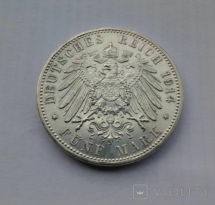 1914 г - 5 марок Германии,Людвиг 3 ,Бавария,серебро, фото №7