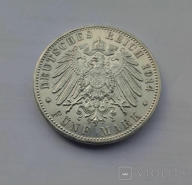 1914 г - 5 марок Германии,Людвиг 3 ,Бавария,серебро, фото №10