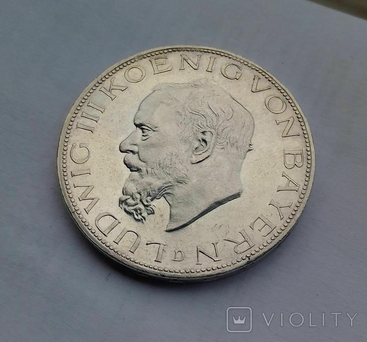 1914 г - 5 марок Германии,Людвиг 3 ,Бавария,серебро, фото №11