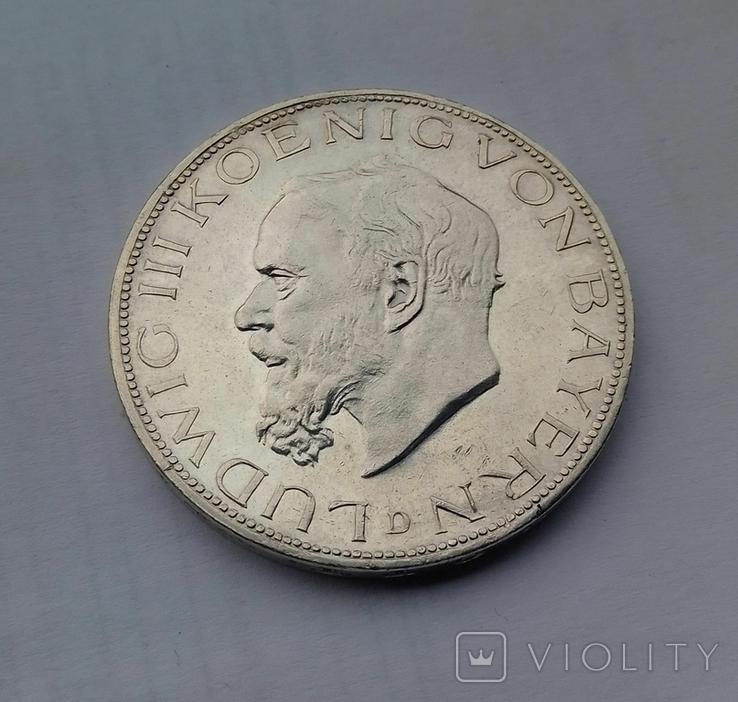 1914 г - 5 марок Германии,Людвиг 3 ,Бавария,серебро, фото №12