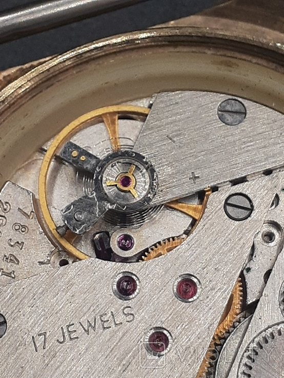 Полет 17 камней в позолоченном корпусе + золотая заводная головка, фото №12