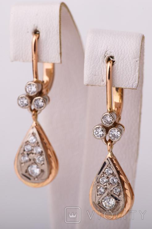 Золотые серьги 583 пробы с бриллиантами, фото №3