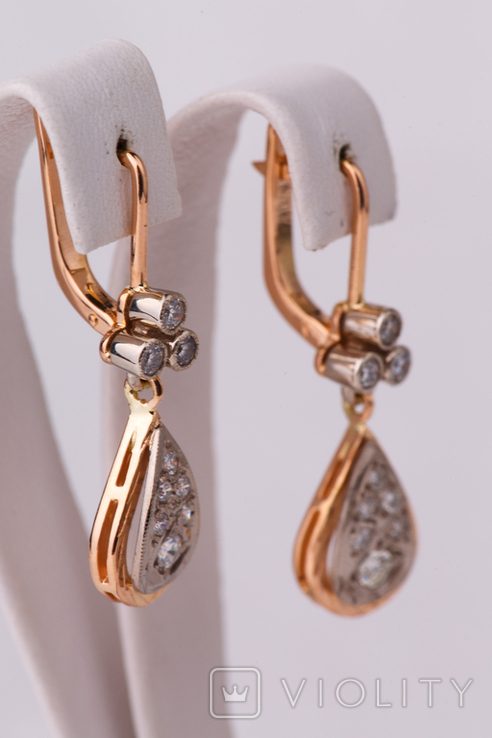Золотые серьги 583 пробы с бриллиантами, фото №4