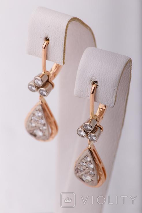 Золотые серьги 583 пробы с бриллиантами, фото №6