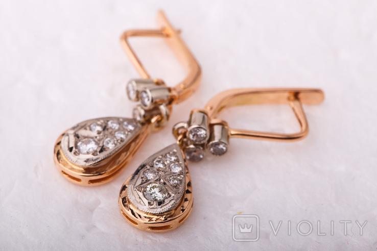 Золотые серьги 583 пробы с бриллиантами, фото №10