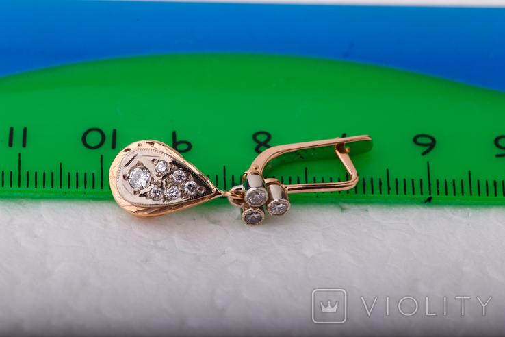 Золотые серьги 583 пробы с бриллиантами, фото №11