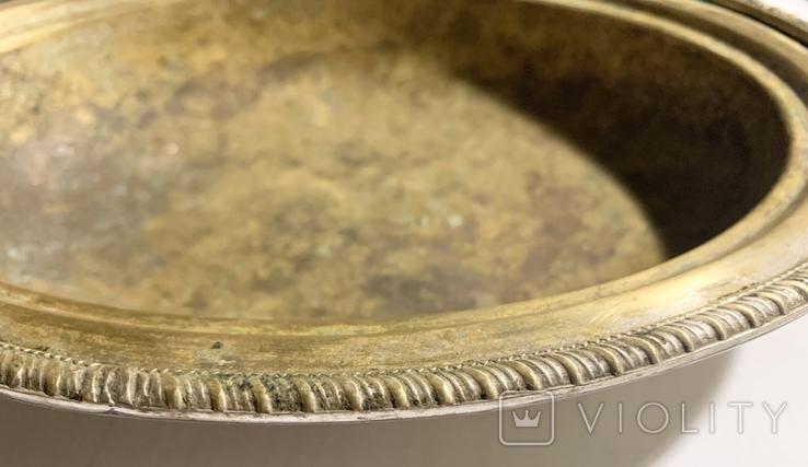 Глубокое блюдо/салатница посеребрённая, фото №12