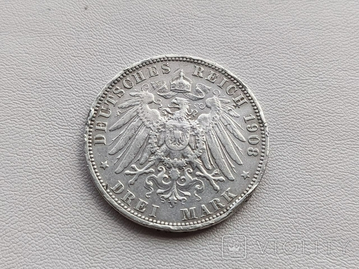 Германия три марки 1908 год серебро, фото №3