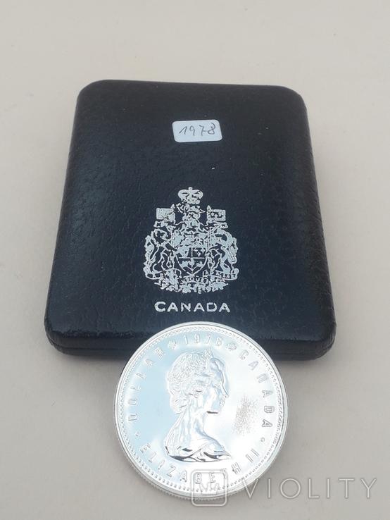 1 доллар, Канада, 1978 г., XI игры содружества в Эдмонтоне, серебро, в родном футляре, фото №3