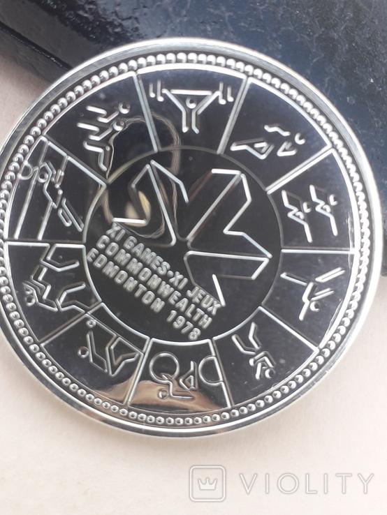 1 доллар, Канада, 1978 г., XI игры содружества в Эдмонтоне, серебро, в родном футляре, фото №5