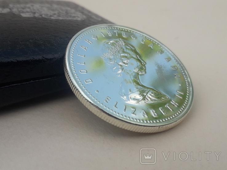 1 доллар, Канада, 1978 г., XI игры содружества в Эдмонтоне, серебро, в родном футляре, фото №6