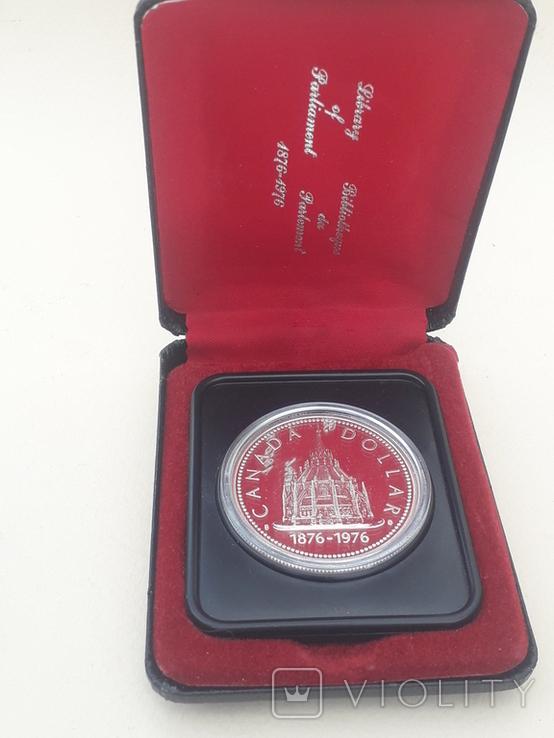 1 доллар, Канада, 1976 г, 100 лет парламентской библиотеке, серебро, в родном футляре, фото №2