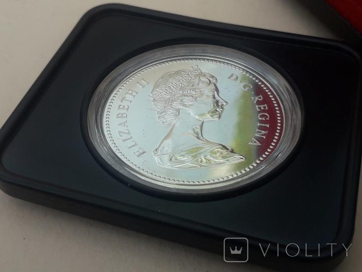 1 доллар, Канада, 1976 г, 100 лет парламентской библиотеке, серебро, в родном футляре, фото №6