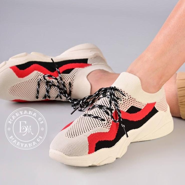 Яркие летние кроссовки / бежевые 37 размер, фото №2