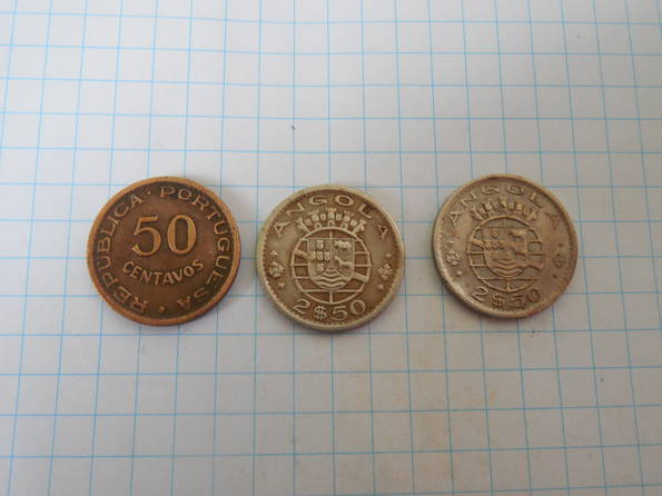 2-1/2 эскудо 1967г., 1974г., 50 сентаво 1958г. Ангола, фото №2