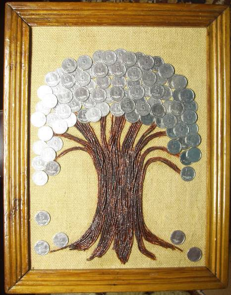 Денежное дерево. Размер 45Х36 см. Авторская работа., фото №2