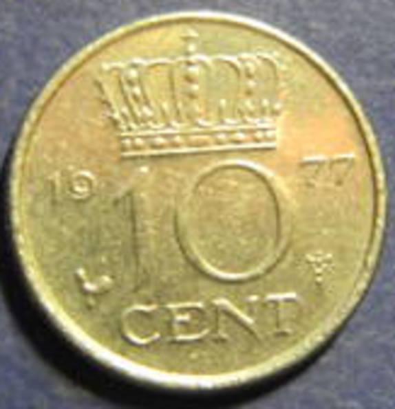 10 центів Нідерланди 1977, фото №2