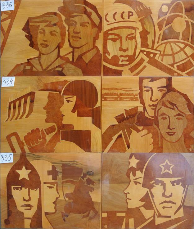 Интарсия, р.41х110, 1967г. «Этапы большого пути», фото №5