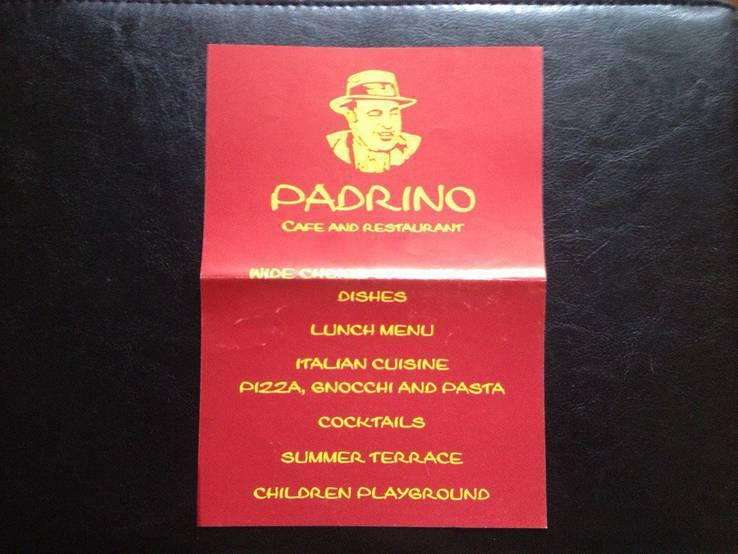 """Рекламный флайер итальянского ресторана """"Padrino"""" (г.Бероун,Чехия)"""