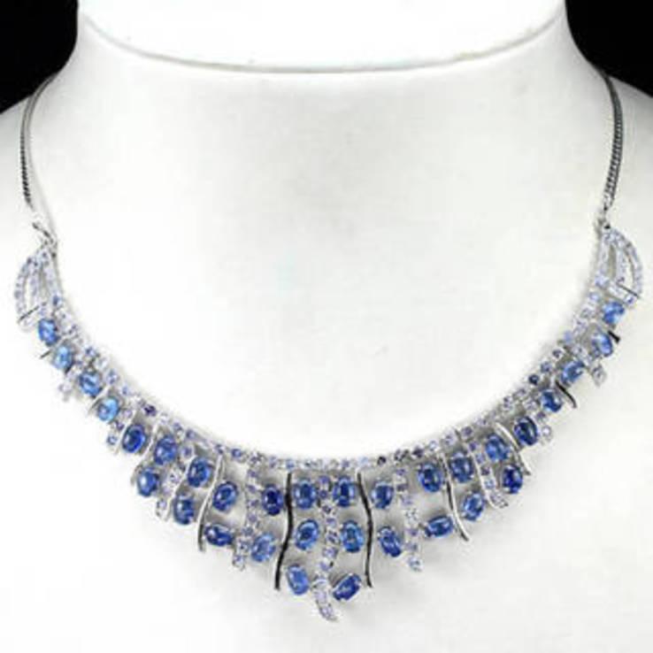 Ожерелье из танзанитов и кианитов, фото №2