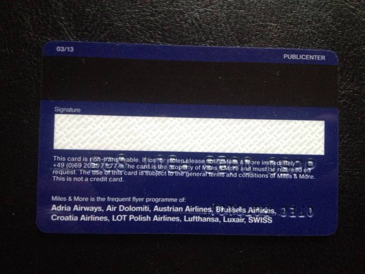 "Банковская карта ""Miles & More"" (Lufthansa) 832, фото №3"