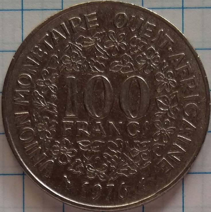 100 франков 1976 года. Западная Африка, фото №2